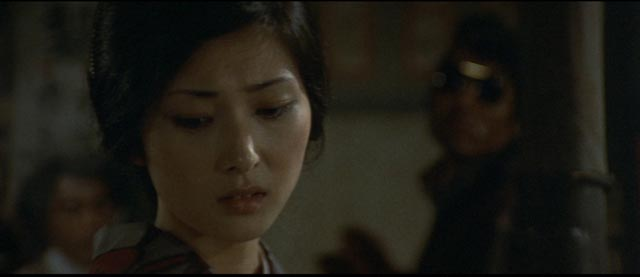 Meiko Kaji as the niece of the boss of the Muraoka family, one of the few female characters in Kinji Fukasaku's Battles Without Honor and Humanity series
