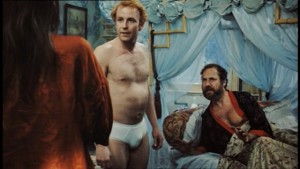 Casual sex: Ginger confronts his brother-in-law and his mistress in Christopher Morahan's All Neat In Black Stockings (1968)