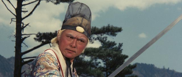 The eunuch Cao (Pai Ying) arrives for the climactic fight in King Hu's Dragon Gate Inn (1967)