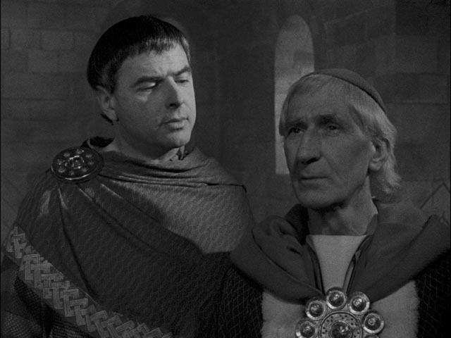 Father John Groser (right) as Thomas Beckett in George Hoellering's Murder In the Cathedral (1951)