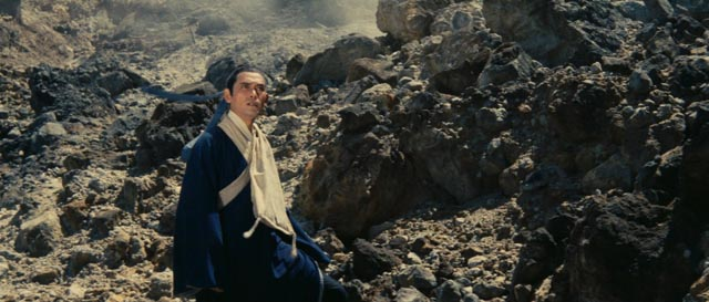 Gu follows Yang into a harsh, inhospitable landscape in King Hu's A Touch of Zen (1971/1975)