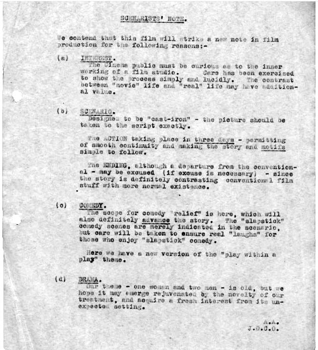 Anthony Asquith's prefatory notes to the Shooting Stars script (1928)