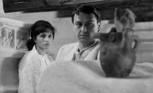 Simon (Gustáv Valach), the jealous husband, and Eva (Emília Vásáryová), the enthralled wife, in Eduard Grecner's Dragon's Return (1968)