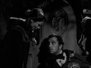 Miranda (Gene Tierney) discovers Nicholas' (Vincent Price)dark secret in a tower room in Joseph L. Mankiewicz's Dragonwyck (1946)