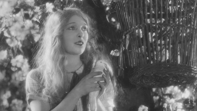 Mae about to be pecked by her pet dove in Anthony Asquith's Shooting Stars (1928)