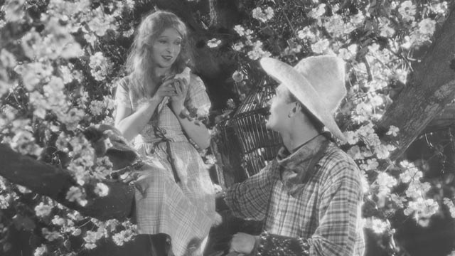 Mae Feather (Annette Benson) and Julian Gordon (Brian Aherne) shooting the film-within-the-film in Anthony Asquith's Shooting Stars (1928)
