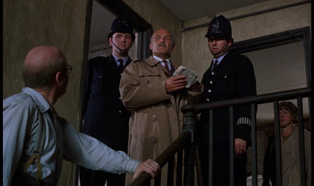 Serial killer John Reginald Christie helps the police in Richard Fleischer's true-crime movie 10 Rillington Place (1971)