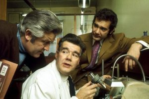 John Paul, Joby Blanshard and Simon Oates as dedicated scientists exposing environmental dangers in the BBC television series Doomwatch (1970-72)