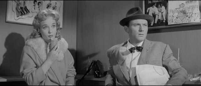 Maisie (Sylvia Syms) and opportunistic schemer Johnny Jackson (Laurence Harvey) accidentally discover a new talent in Val Guest's Expresso Bongo (1959)