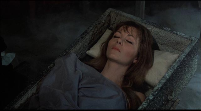 Ingrid Pitt relaxing as Mircalla Karnstein in Roy Ward Baker's The Vampire Lovers (1970)