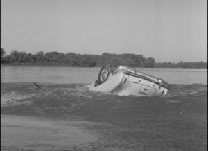 The car disappearing into the river in Herk Harvey's Carnival of Souls (1962)