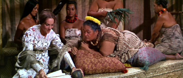 Jerusha (Julie Andrews) teaches Malama Kanakoa (Jocelyne LaGarde) how to write English in George Roy Hill's Hawaii (1966)