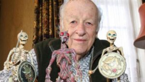 Stop-motion master Ray Harryhausen with some of his creations