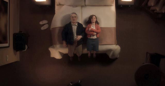 The awkwardness that precedes a tentative sexual encounter in Charlie Kaufman and Duke Johnson's Anomalisa (2015)