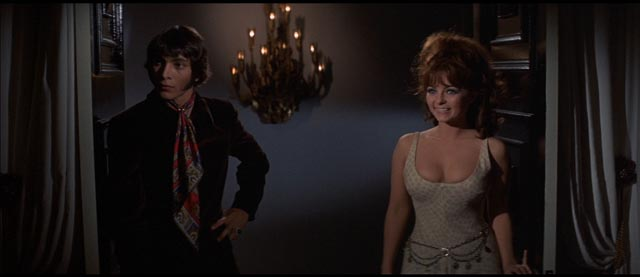 Promoter Z-Man Barzell (John LaZar) and Carrie Nations lead singer Dolly Read (Kelly MacNamara) in Russ Meyer's Beyond the Valley of the Dolls (1970)