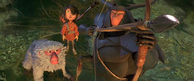 Monkey (Charlize Theron) and Beetle (Matthew McConaughey) aid Kubo in his quest in Travis Knight's Kubo and the Two Strings (2016)