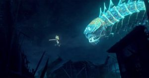 Kubo fights the Moon King (Ralph Fiennes) in the form of a dragon in Travis Knight's Kubo and the Two Strings (2016)