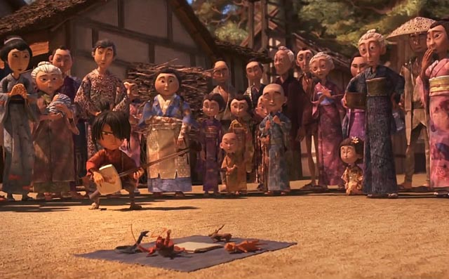 Kubo entertains in the village market by bringing origami to life in Travis Knight's Kubo and the Two Strings (2016)