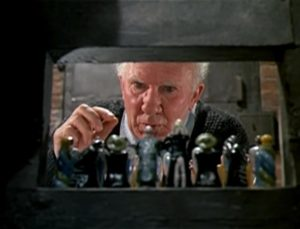 Arthur Hewlett as Pop, the unlikely asylum guard in Laslo Benedek's The Night Visitor (1971)