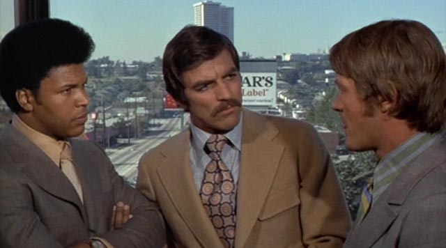 James Inglehart, Tom Selleck and Wayne Maunder in Russ Meyer's The Seven Minutes (1971)