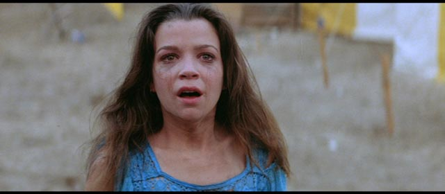 Amy Harper (Elizabeth Berridge) after a rough night in Tobe Hooper's The Funhouse (1981)