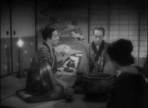 Kiku (Shôtarô Hanayagi) with his implacable adopted father Kikugoro Onoe (Gonjurô Kawarazaki) in Kenji Mizoguchi's The Story of the Last Chrysanthemum (1939)