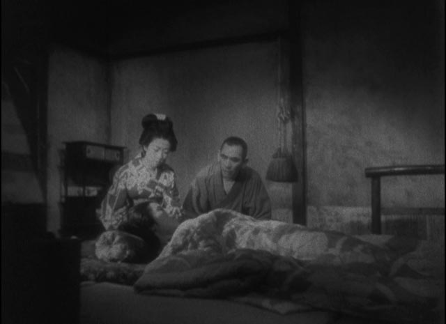 The toll taken on Otoku by the sacrifices she has made for Kiku in Kenji Mizoguchi's The Story of the Last Chrysanthemum (1939)