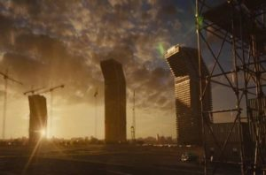 The eponymous setting in Ben Wheatley's adaptation of J.G. Ballrad's High-Rise (2015)