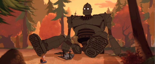 Hogarth Hughes makes friends with the title character in Brad Bird's The Iron Giant (1999)