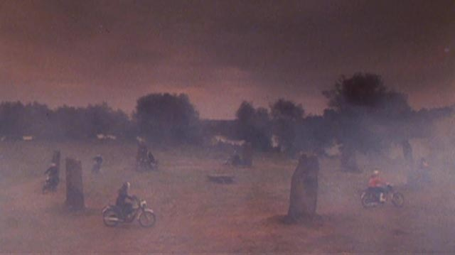 The Living Dead relax in early morning mist among the standing stones in Don Sharp's Psychomania (1973)