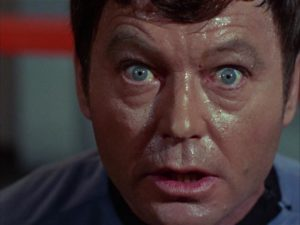 Dr. McCoy (DeForest Kelly) loses it in The City on the Edge of Forever, Star Trek Season One
