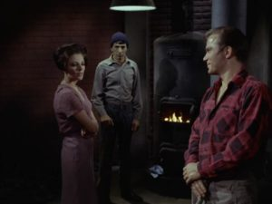 Kirk and Spock meet Edith Keeler (Joan Collins) in the mission basement in 1930 in The City on the Edge of Forever, Star Trek season one