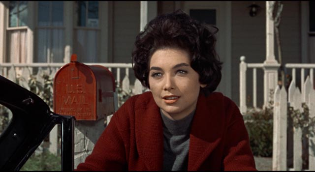 Suzanne Pleshette as Bodega Bay teacher Annie in Alfred Hitchcock's The Birds (1963)