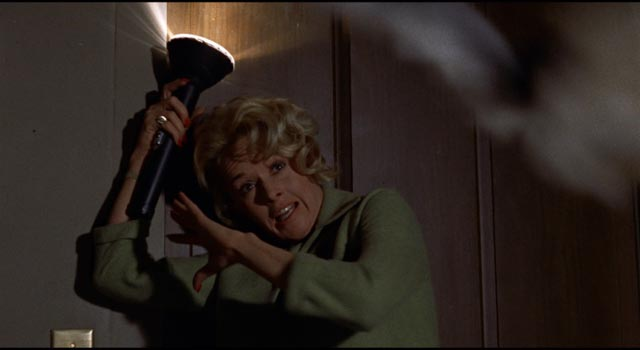 Melanie trapped and vulnerable in the climactic moments of Alfred Hitchcock's The Birds (1963)