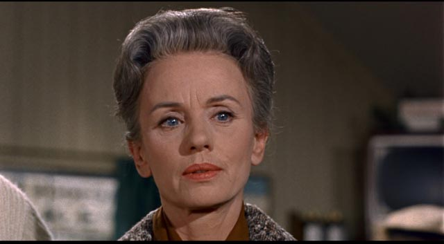 Jessica Tandy as Lydia in Alfred Hitchcock's The Birds (1963), a stern judgemental exterior shielding deep insecurity