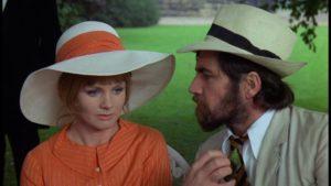 The rebellious Rupert Birkin (Alan Bates), much taken with Ursula (Jennie Linden) in Ken Russell's Women in Love (1969)