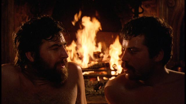 Rupert and Gerald enjoy a moment of physical bonding fraught with sexual confusion in Ken Russell's Women in Love (1969)
