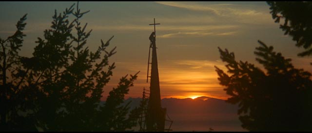 The town church being completed; but religion is no match for capitalism in Robert Altman's McCabe & Mrs Miller (1971)