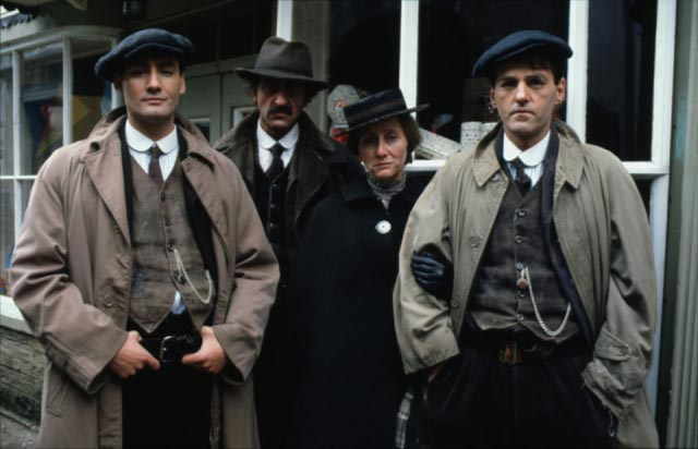 Amos Jones (Bob Peck) with wife Mary (Gemma Jones) and twin sons Lewis (Robert Gwylim) and Benjamin (Mike Gwylim) in Andrew Grieves adaptation of Bruce Chatwin's On the Black Hill (1988)