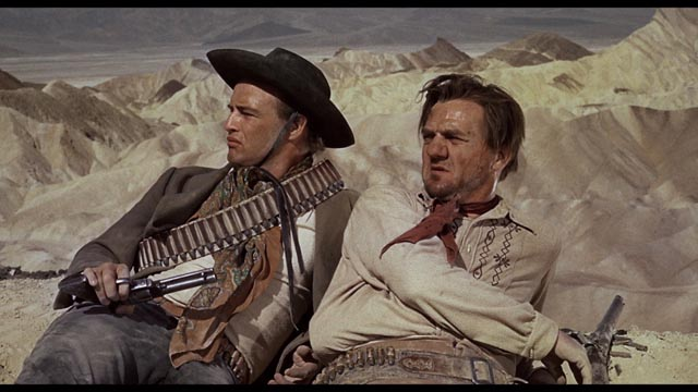 Rio and Dad Longworth (Karl Malden), partners just before the moment of betrayal in Marlon Brando's One-Eyed Jacks (1961)
