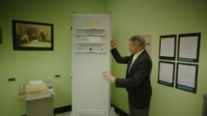 Dr Leonard Kleinrock with the first component of what became the Internet, in Werner Herzog's Lo and Behold (2016)
