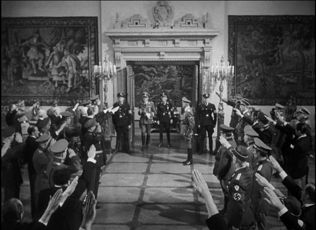 Reichsprotektor Heydrich arrives to berate his underlings in Prague in Fritz Lang's Hangmen Also Die! (1943)