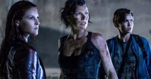 Alice with Claire (Ali Larter) and Abigail (Ruby Rose) in Paul W.S. Anderson's Resident Evil: The Final Chapter (2016)