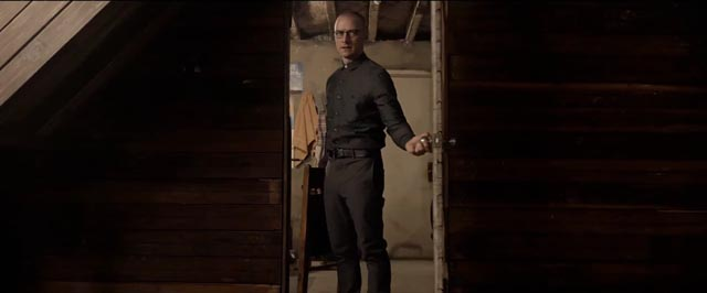 James McAvoy as Dennis, the dominant personality, sharing Kevin's body with 22 others in M. Night Shyamalan's Split (2017)
