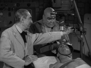 Dr. Vornoff (Bela Lugosi) working with the finest modern equipment in Edward D. Wood Jr's Bride of the Monster (1955)