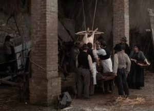 The butchery of a pig is a communal event in Ermanno Olmi's The Tree of Wooden Clogs (1978)