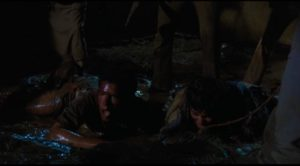The workers caught inexplicably in a violent nightmare in Felipe Cazals' Canoa: A Shameful Memory (1976)