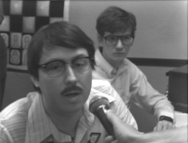 Wiley Wiggins as one of the tech geeks in Andrew Bujalski's dead-pan retro-future comedy Computer Chess (2013)