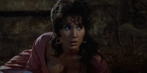 The mute servant girl (Yvonne Romain) who gives birth to a monster in Terence Fisher's Curse of the Werewolf (1961)