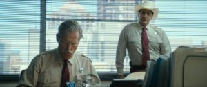 Jeff Bridges and Gil Birmingham as the Texas Rangers on the brothers' trail in David Mackenzie's Hell or High Water (2016)